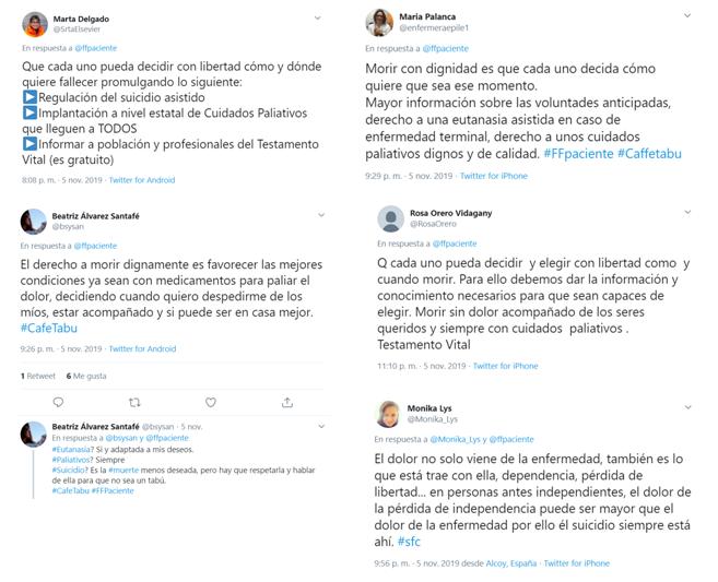 Tuits sobre derecho a morir